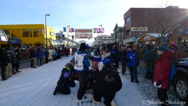 Interview 2 minutes prior to our first Iditarod start!