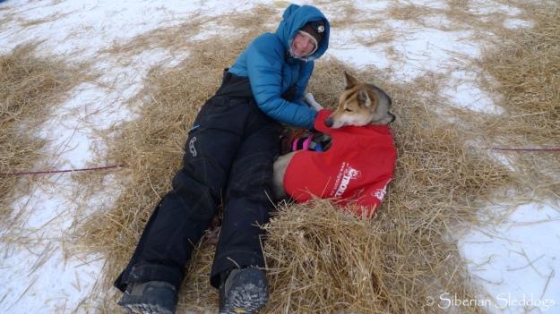 Yvonne and her pet-dog Iditarod finisher Isikajia in Nikolai