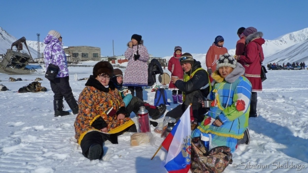 Locals serve warm chai on the ice in Provideniya