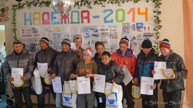Awards ceremony for the kids race from Uelen to Inchoun (30km). They impressed us with their speed and were only minutes behind our overall fastest time for the day.
