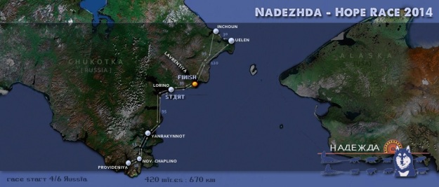 Map showing the 2014 Nadezhda Hope International Sled dog