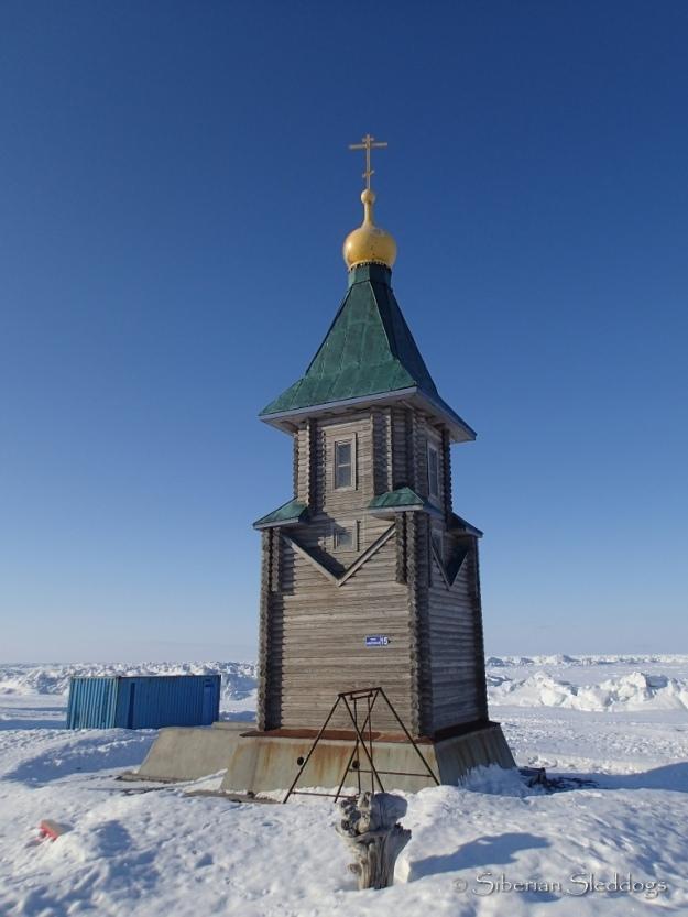 The Church in Uelen in front of the Arctic Ocean